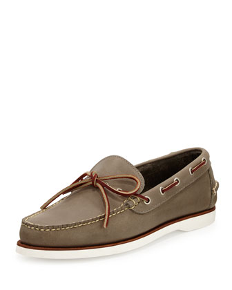 Yarmouth Leather Boat Shoe, Charcoal