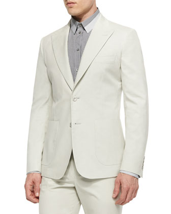 Peak-Lapel Two-Button Jacket, Ivory