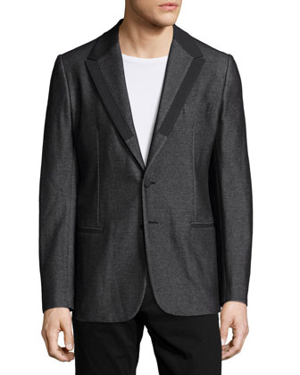 Textured Jacket with Satin Lapels, Black