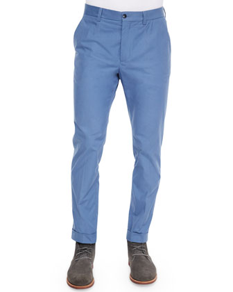Stretch-Twill Trousers, Light Blue