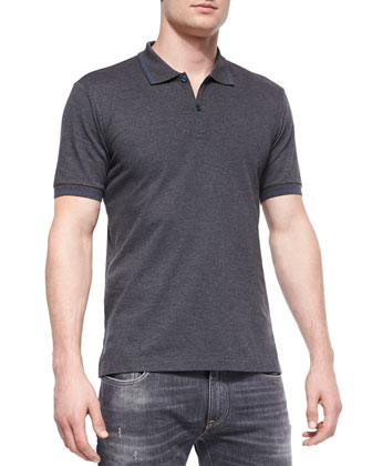 Tipped Short-Sleeve Polo Shirt, Charcoal