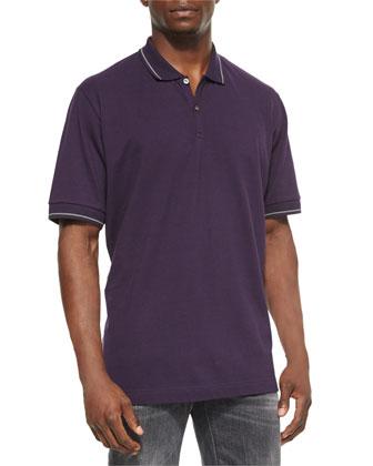 Tipped Polo Shirt, Purple