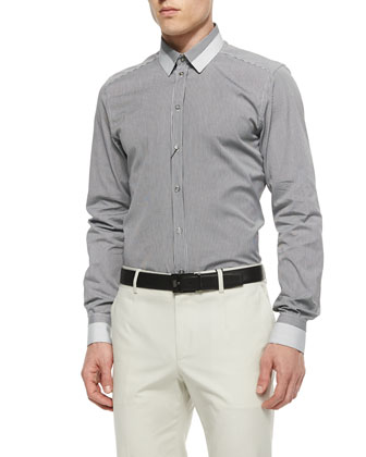 Small-Gingham Sport Shirt with Striped Collar, Black