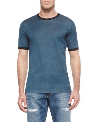 Polka-Dot Printed Short-Sleeve Tee, Blue