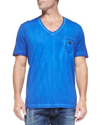 Pigment-Dyed V-Neck T-Shirt, Blue