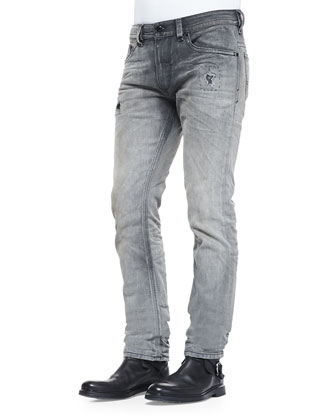 Thavar 837E Distressed Slim-Leg Jeans, Gray