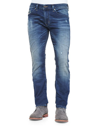 Pigment-Dyed V-Neck T-Shirt & Thavar-NE 662L Distressed Slim-Leg Jeans