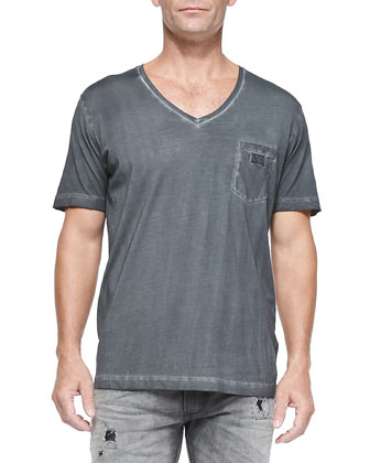 Pigment Dyed V-Neck Tee, Charcoal