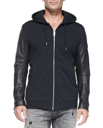 Zip-Front Hoodie W/ Leather Sleeves, Pigment Dyed V-Neck Tee & Thavar 837E ...