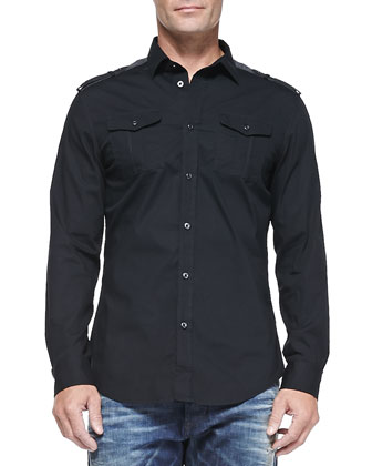 Button-Down Shirt with Pockets & Buster 837A Relaxed Distressed Jeans