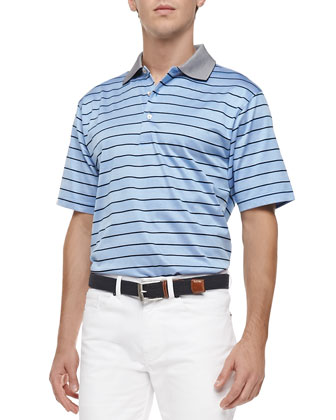 Harvey-Stripe Lisle-Knit Polo, Blue