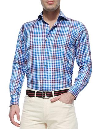 Pick-Stitched Check Sport Shirt, Blue/Multi