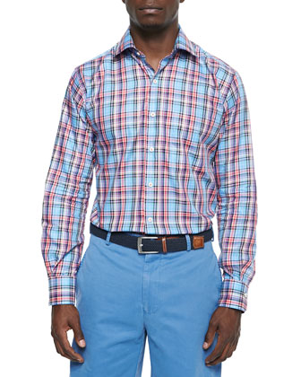 Twill Plaid Sport Shirt, Pink/Multi