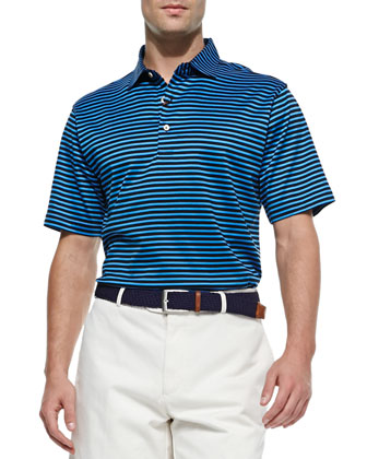 Lisle Striped Short-Sleeve Polo, Black/Blue