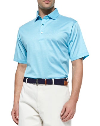 Monty Hairline Lisle Polo Shirt, Teal