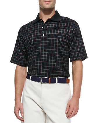 Cornelius Windowpane Polo Shirt, Black