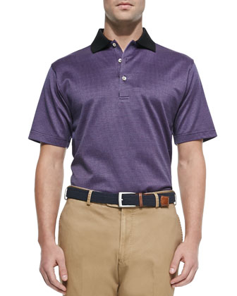 Chuck Checkered Lisle-Knit Polo, Purple/Black