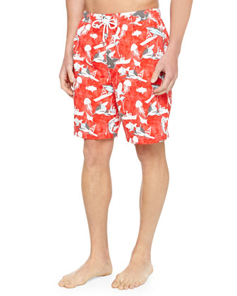Shark-Print Swim Trunks, Red