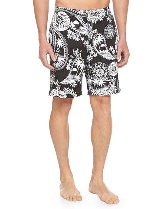 Hawaiian-Print Zip Swim Trunks, Black/White