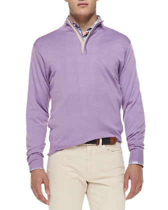 Quarter-Zip Sweater W/ Suede Placket, Lilac