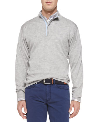 Silk/Cashmere 1/4-Zip Pullover Sweater, Light Gray