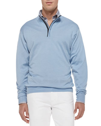 Silk/Cashmere 1/4-Zip Pullover Sweater, Light Blue