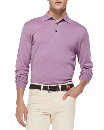Silk-Blend Polo Sweater, Purple