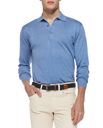 Silk-Blend Polo Sweater, Light Blue