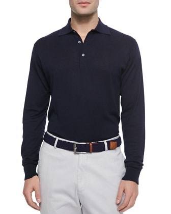 Silk-Blend Long-Sleeve Polo Sweater, Navy