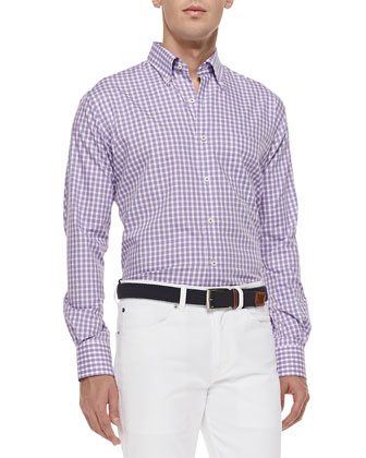 Gingham Tattersall Sport Shirt, Purple