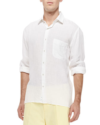 Solid Cotton Long-Sleeve Shirt, White