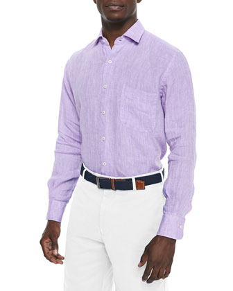 Solid Linen Long-Sleeve Shirt, Purple