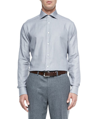 Tonal Textured Oxford Shirt, Gray