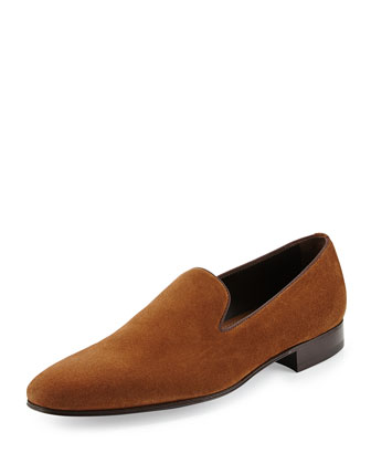 Suede Slip-On Loafers, Medium Brown