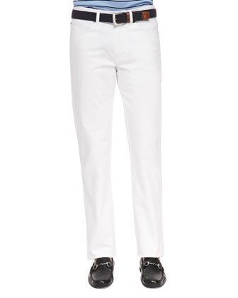 5-Pocket Stretch-Cotton Trousers, White