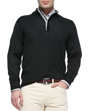 Suede-Trimmed Quarter-Zip Pullover, Black