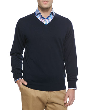 Cotton-Blend V-Neck Sweater, Navy