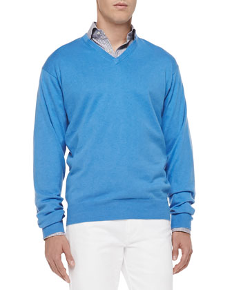 Cotton/Cashmere V-Neck Sweater, Light Blue