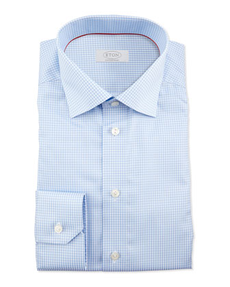 Gingham-Check Dress Shirt, Light Blue