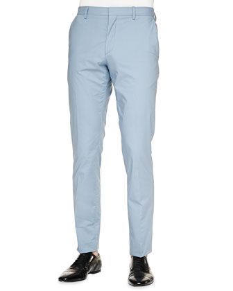 Modern-Fit Cotton Trousers, Light Blue