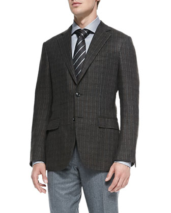 Cashmere Check Jacket, Olive