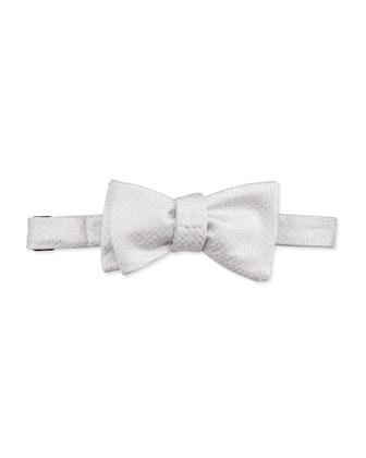 Glittery Silk Bow Tie, Silver