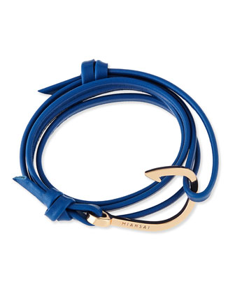 Hook Leather Bracelet, Blue