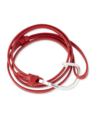 Hook Leather Bracelet, Red