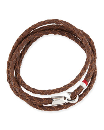 Braided Leather Bracelet, Brown