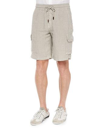 Baie Linen Cargo Shorts, Gray