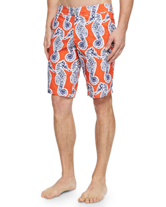 Meia Seahorse-Print Board Shorts, Orange