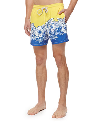 Moorea Hawaiian-Print Swim Trunks, Blue/Yellow