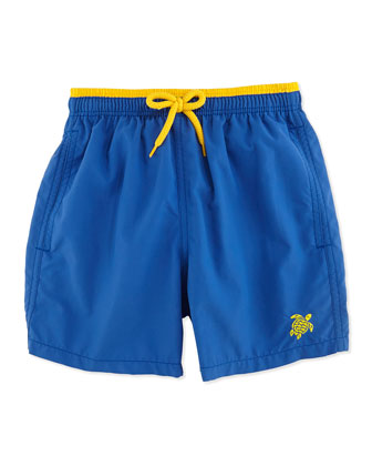 Jaka Turtle Logo Swim Trunks, Blue