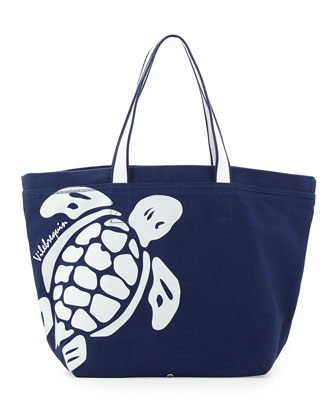 Turtle Graphic Tote Bag, Neutral